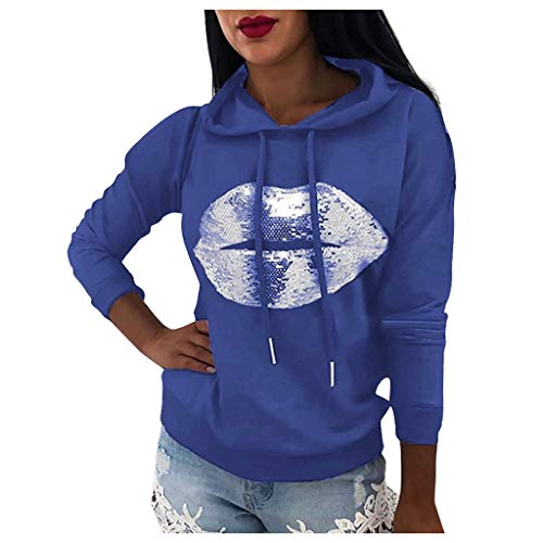 LHHH Women Tops and Blouses, Women Lip Print Sweatshirt Long Sleeve Pocket Pullover Hooded Tunic Tops Blouse, Clothes for Women