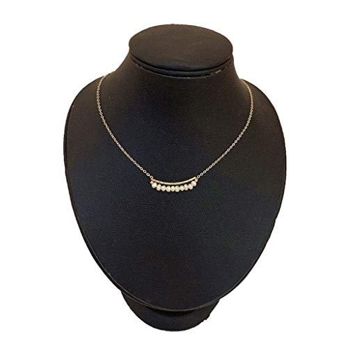 JJZXD Collar de Perlas Naturales Hembra Niche Diseño Sense Clavícula Cadena Tide Net Red Simple Temperamento Collar Joyería de Pelo