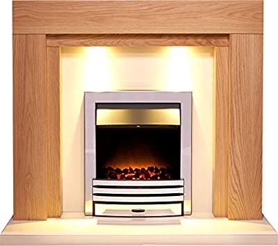 Adam Beaumont Fireplace Suite in Oak and Cream with Eclipse Electric Fire in Chrome, 48 Inch