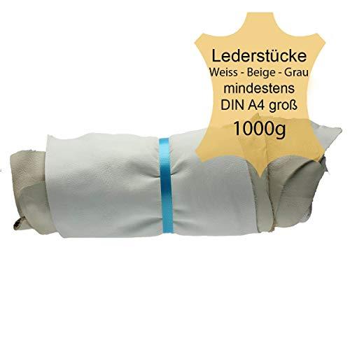 Langlauf Schuhbedarf ® Lederstücke mittel 1kg hell - Weiss - beige - grau - alle Stücke Mind. DIN A4