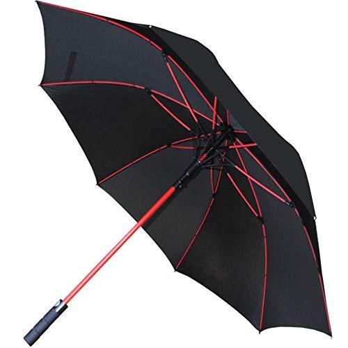 COLLAR AND CUFFS LONDON - 154 cm Bogen - WINDPROOF - Verstärkte Fiberglasrippen in Rot - SEHR STARK - StormFighter Jumbo - Automatik - Fiberglas Regenschirm Stockschirm - Schwarz