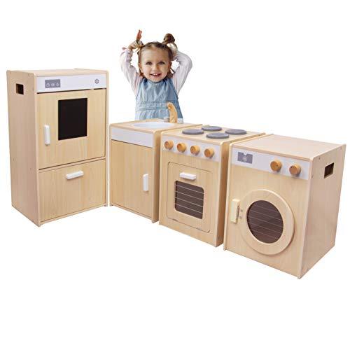 Kids House Cocina de Madera 4 en 1, Cuatro Módulos: Estufa, Tarja, Lavadora y Refrigerador, Cocina de Juguete para Niña