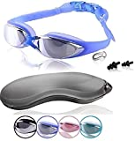 Swim Goggles | Swimming Goggles For Men Women Adults - Best Non Leaking Anti-Fog UV Protection Clear Vision - Free Goggle Case Nose and Ear Plugs Black Mirrored | U-FIT