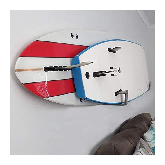 Bps paddleboard/sup wall rack, minimalist display for indoors and outdoors, rust resistant w/soft padding protection 5 the company - helping everyone to 'get out and do' is the reason barrel point surf exists. Created by a kiwi surfer and caring dad who loves helping others get out onto and into the water, we're a mom & pop business that began with us building surfboards in our garage. Now we are all about helping make water sports accessible, wherever you are in the world. Say yes to barrels, not barriers. The product- our bps minimalist board wall racks are what you need! Strongly designed and can hold two boards at once. These can hold one sup and either a longboard or a shortboard; or two short-boards / two long-boards / one short-board and one long-board. You can store your paddle as well if you'll put one board only. More about the product - it is built with super soft padding that will ll always protect your sup's rails. These are constructed with marine-grade aluminum, making these racks free from rusting. Available in two colors- midnight black and ocean grey.