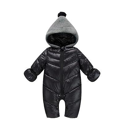 Genda 2Archer Unisex Baby Hooded Puffer Jacket Jumpsuit Winter Snowsuit Coat Romper (0-6 Months, Black)