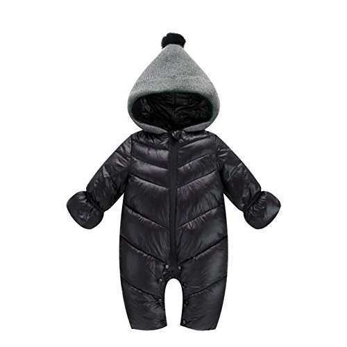 Genda 2Archer Unisex Baby Hooded Puffer Jacket Jumpsuit Winter Snowsuit Coat Romper (14-18 Months, Black)
