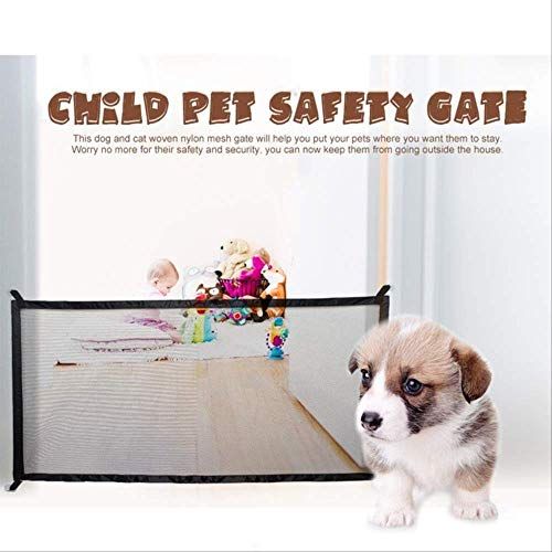 Katzennetz Absperrgitter Hund Magic Dog Gate Genialer Mesh-hundezaun Für Sichere Haustiere Im Innen- Und Außenbereich Hundetor Sicherheitsgehäuse Tierbedarf 180x72 cm Schwarz