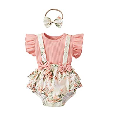 Infant Newborn Baby Girl Floral Summer Outfits Ruffle Sleeve Ribbed T-Shirt and Suspender Shorts with Headband (Pink,0-3 Months) from DuAnyozu