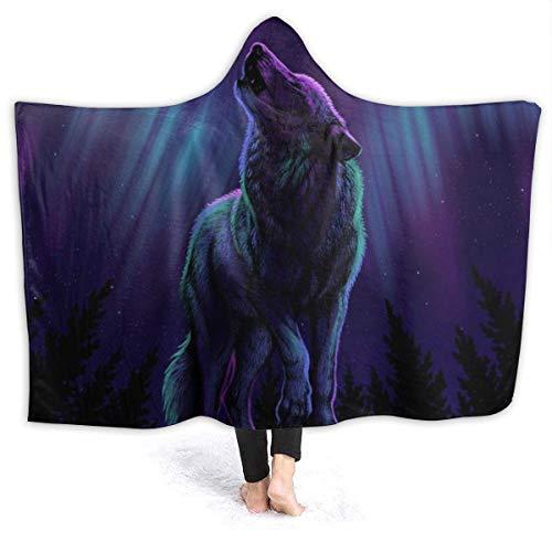 """XXWK Kuscheldecken Überwürfe Decken Hooded Blankets Wolves Howl in The Northern Lights Printed Super Soft Sherpal Plush Wearable Throw Blanket Black 60\""""x50\"""" Inch Lightweight"""
