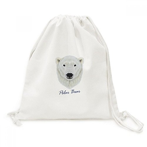 DIYthinker Blanc du Nord Sauvage Ours Polaire Animal Toile Drawstring Backpack Voyage Sacs