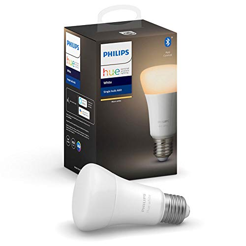 Philips Hue Philips E27 Hue White LED Smart Bulb, Bluetooth & Zigbee Compatible (Hue Hub Optional), Compatible with Alexa & Google Assistant
