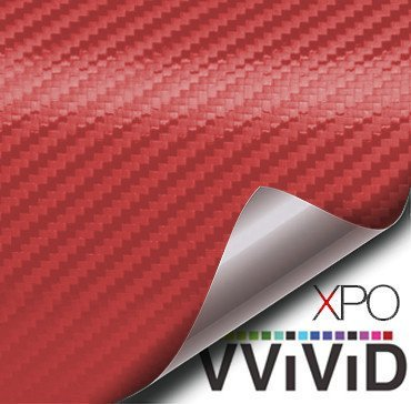 VViViD XPO Red Carbon Fiber Car Wrap Vinyl Roll with Air Release Technology (1FT X 5FT)