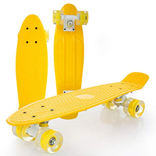 DFWYG Penny Board 22 Inch Complete Skate Mini Beginner Cruiser Plastic Skate Board for Teens Boy Child Kids Girl Adult, LED Light Up Wheels with ABEC-7 Bearings,Yellow