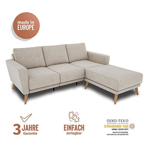 KAUTSCH Lotta Dreisitzer Sofa für Wohnzimmer zerlegbar - Couch 3-sitzer - Polstersofa - B 202 cm - Longchair rechts - Creme - Holzfüße aus Eicher