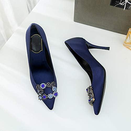 HOESCZS Talons Hauts Nouveau Printemps Strass Noir Pointu Talons Hauts Strass Chaussures Sauvages Simples Chaussures De Bouche Peu Profonde Chaussures pour Femmes