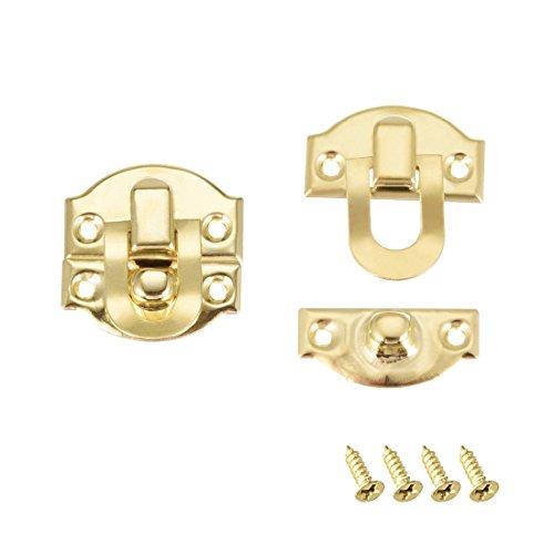 sourcing map 2Stk. Kofferverschluss, kleine Größe Schmuck Holzkisten Verschluss golden