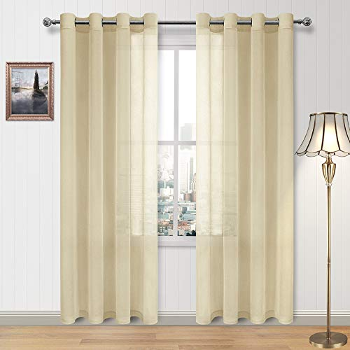 DWCN Sheer Curtains Faux Linen Voile Sheer Drapes for Living Room Grommet Window Curtain 52 x 84 Inch Long, Set of 2 Beige Panels