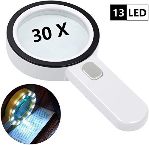 30X Handlupe Lese Lupe mit Licht 13 Led Beleuchtet zum Lesen, 125mm groß Leselupe Lesehilfe für Kleingedruckten, Prüfen, Schmuck, Münzen, Briefmarken, Karten, Handwerk, Hobbies