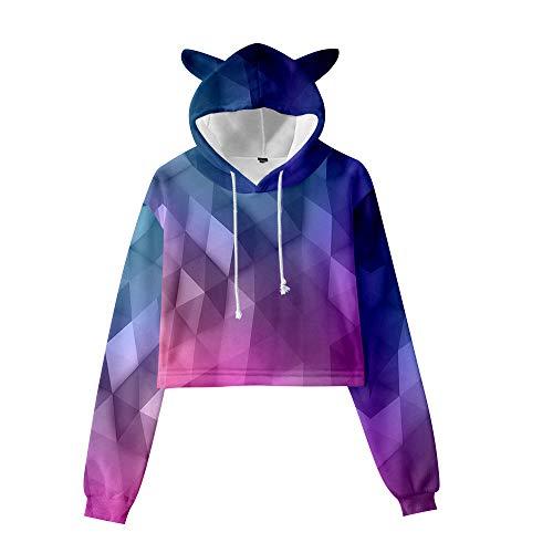 GYINGY Cat Ear Hoodies Gradient Rainbow Print Suéter de Manga Larga con Capucha de Oreja de Gato para Mujer-XXXL