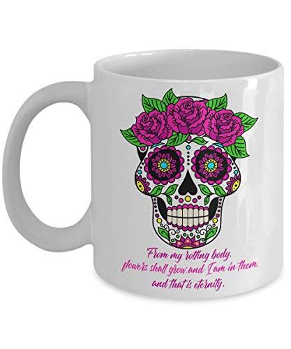 N\A Day of The Dead Dia de los Muertos Sugar Skull azucar Calavera Calaveras y Rosas Taza de café, Tazas mexicanas Regalos de calaveritas de cerámica, Esqueleto de Halloween