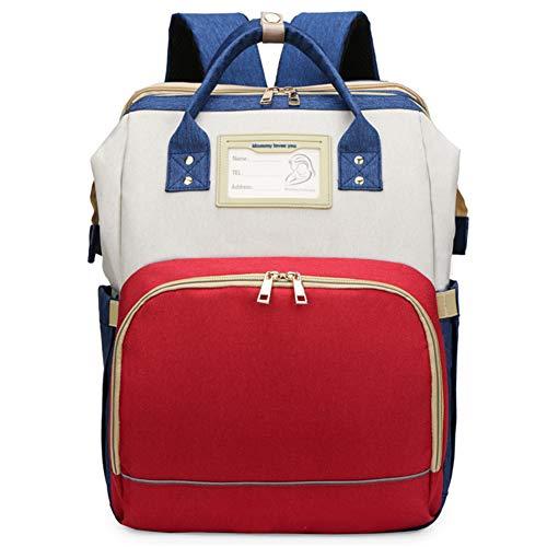 YT Bolsa de Pañales Mochila Bolsa de Pañales Multifunción con Cama Plegable y Colchón, Bolsas de Viaje para Pañales para Bebés de Gran Capacidad con Puerto de Carga USB, Impermeable,Red Rice Blue
