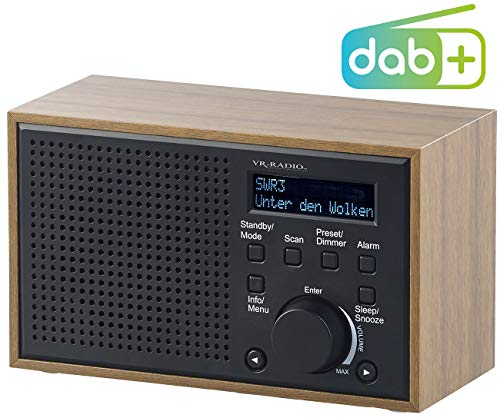 VR-Radio Radiowecker Batterie: Digitales DAB+/FM-Radio mit Wecker, LCD-Display, Holzdesign, 4 W (UKW Radio)