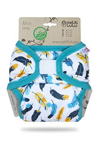 Petit Lulu AIO Taschenwindel One Size (4-15 kg) Klett | Fluffy Organic | Wiederverwendbare & Waschbare Windel | Bambus & Biobaumwolle Einlagen (Gefieder)