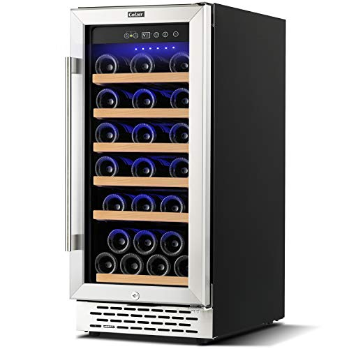 Colzer Upgrade 15 Inch Wine Cooler Refrigerators, 32 Bottle Fast Cooling Low Noise and No Fog Wine Fridge with Professional Compressor Stainless Steel, Digital Temperature Control Screen Built-in or Freestanding 41°F-72°F