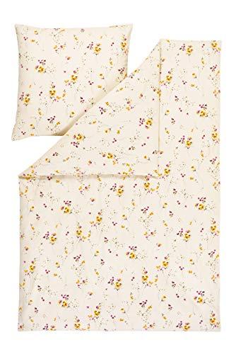 Estella Samt und Seide Flanell Bettwäsche Abetone 5119 135x200 + 80x80 cm, Fb. 215 Creme