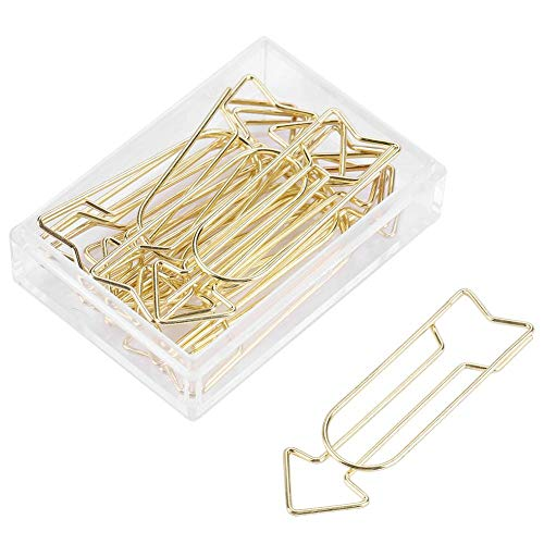 12pcs Gold Paper Clips, Electroplating Metal Arrow Shaped Paper Clip Funny Stationery Bookmark Marking Clip