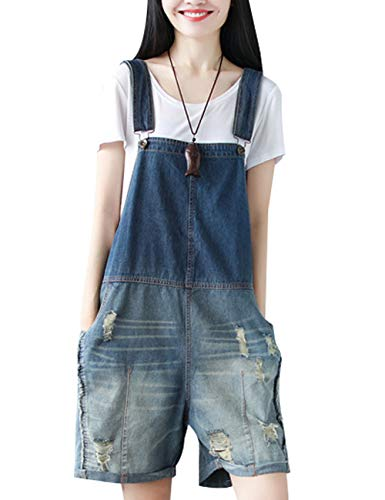 Womens Comfy Stretch Ripped Denim Jumpsuit Overalls, Shortals,Jeans Romper Style 2 Dark Blue