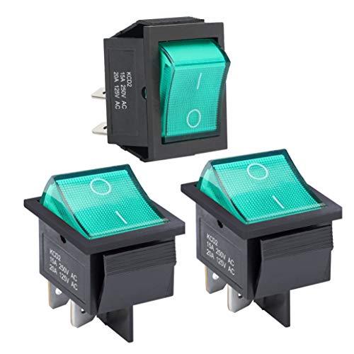APIELE 3 interruttori a levetta, 2 posizioni ON-OFF, con interruttore a LED DPST a 4 poli, 250 V, 16 A, interruttore a levetta per abitazioni, industrie, fai da te, KCD2-201N (verde)