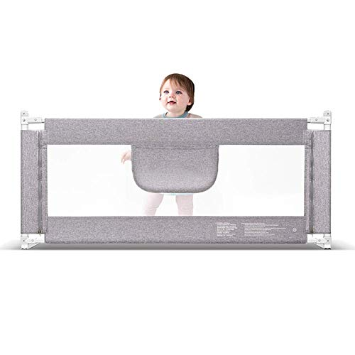 JFFFFWI Barrière de lit Extra-Haute Garde de lit pour Tout-Petits Safety Childs Bedguard Baby Rail Pliable en Maille , Grand 120-220 cm, Gris, Hauteur 85 cm (Taille: 220 cm)