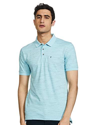 Van Heusen Men's Printed Regular fit T-Shirt (VSKWLRGP842057_Blue L)