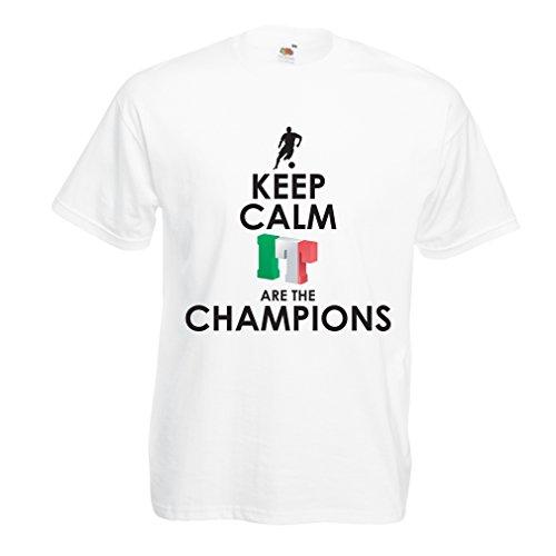 Camisetas Hombre Los Italianos Son los campeones, el Campeonato de Rusia 2018, la Copa del Mundo de fútbol, el Equipo de Aficionados de Italia (XXX-Large Blanco Multicolor)