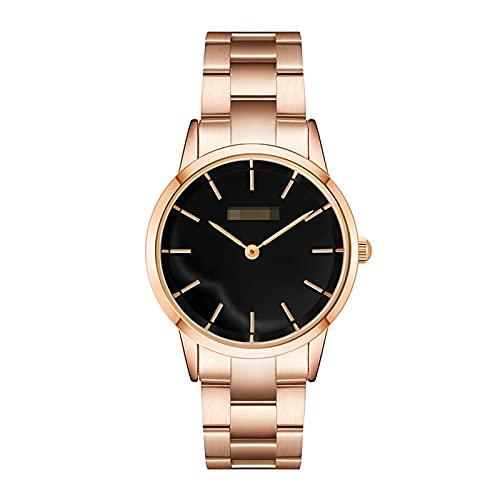 BBZZ Reloj de Cuarzo Sencillo y Elegante de Las señoras con la Cadena de cinturón de Acero de la Personalidad Creativa, Reloj de Damas cómodas,Oro,Black Noodles