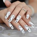 CoolNail White Black Gradient Marble Press on False Nails Extra Long...