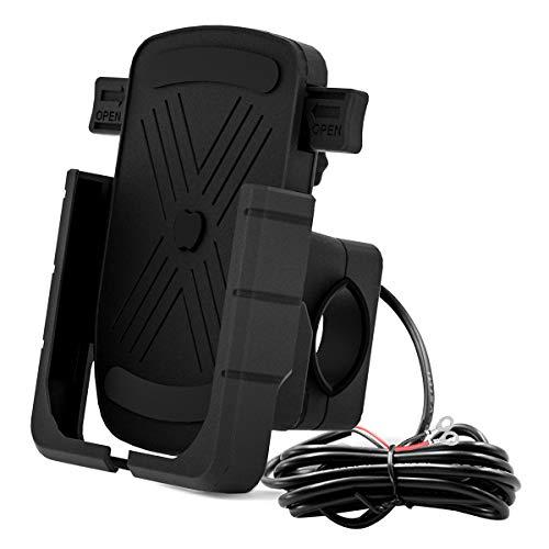 Esenlong Soporte para Teléfono de Motocicleta Soporte para Teléfono Móvil de Aleación de Aluminio con Puerto USB Dual para Teléfonos de 4 7 6 Y 5 Pulgadas ( Negro )