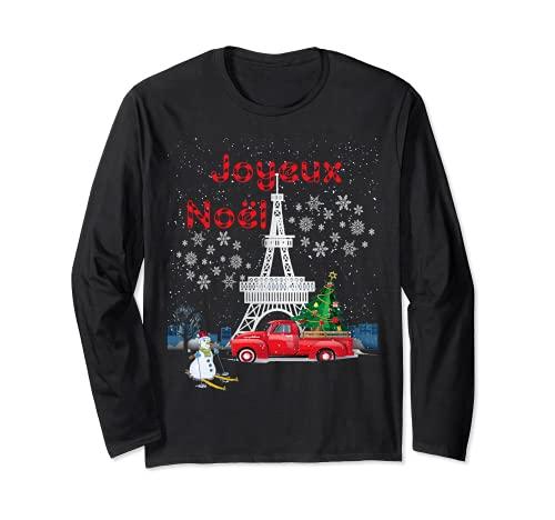 Árbol de Navidad de la Torre Eiffel de París Rojo Camión Joyeux Noël Regalo Manga Larga