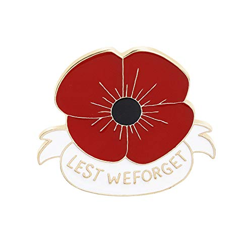 Ousyaah Poppy Flower Brooch, Poppy Badges Pins Broach Remembrance Day Gift Enamel Poppy Lapel Broochs Pin (White)