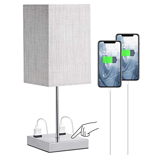 Bedroom Table Lamp, Doowo 17.5inch Height Bedside Lamp for Bedroom, 3 Way Dimmable Table Lamp with Outlets, Linen Fabric Shade, Silver Chrome Base, for Desk, Bedroom, Dorm, Livingroom (Bulb Included)