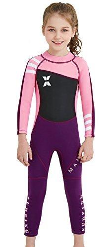 DIVE&SAIL - Traje de Buceo Bañador para Niñas Wetsuit de Neopreno de una Pieza Ropa de Natación y Snorkeling de Surf Piscina Colorido - Rosado