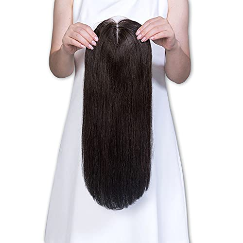 Uniwigs Remy Human Hair Mono Hairpiece, Closure, Hand Made Tied Hair Topper, Straight 16 Inches for Hair Loss (G-4)