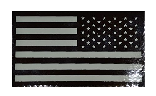 Infrared (IR) American Flag, Reverse Facing 2x3.5 Patch - White Graphic