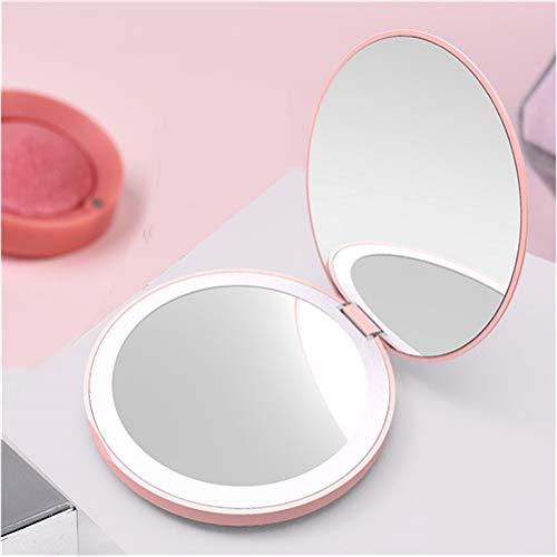 H/L Tragbare Licht-Filling Taschenkosmetikspiegel, LED 2-Facher Vergrößerung Make-Up-Spiegel Mit Versprechen Dimmfunktion Und Einbau-400Mah Lithium-Batterie