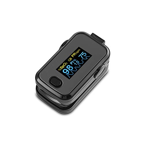 V7 BUFPO31 Fingersättigungsmesser - Digitales Sofortpulsoximeter, Fingerpulsoxymeter mit OLED-Display, Einknopfbedienung, Anti-Flimmer-Funktion, 6 Messmodi