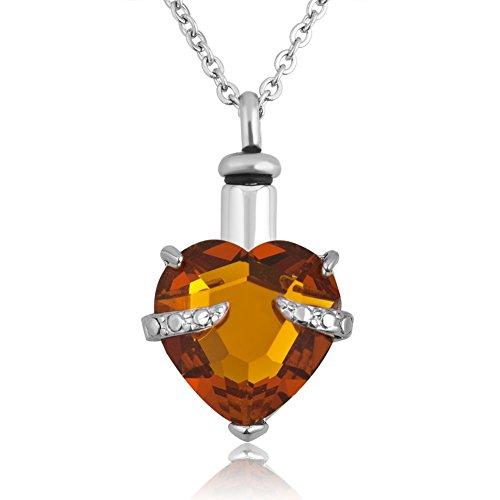 corykeyes urna de corazón Colgante de Cristal Collares para Cenizas Conmemorativa Cenizas joyería Recuerdo