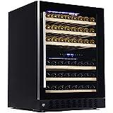Kolsi Wine Cooler Refrigerator 24 inch - Wine Fridge Dual Zone Function 46 Wine Bottles Cooler Beverage Refrigerator - Mini Wine Fridge Under Counter Wine Cooler Cabinet Furniture Wine Refrigerator
