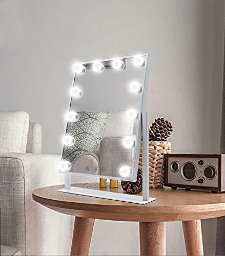Espejo Maquillaje Grande con Luz, Espejo de Maquillaje Hollywood con 12 Bombillas LED en 3 Modos, Luz Ajustable, Rotación de 360°, Control Tactíl, Enchufar, Cosmético Belleza Espejo de Mesa (Blanco)