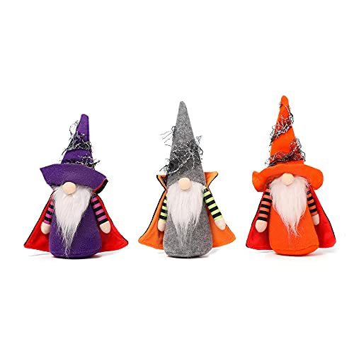 3pcs Halloween Robe Gnomes Marionnette Jouet Poupée Figure Décorations En Peluche, Halloween Décor À La Main, Table À La Maison Elfe Gnomes Décor Ornements, Fête Maison Manteau De Cheminée Décor